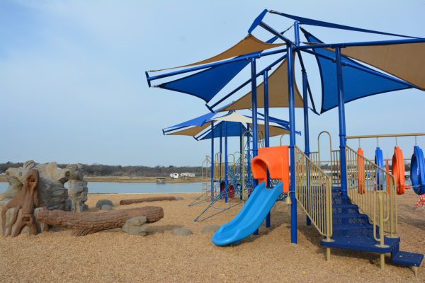 Playground on beach at Vineyards Campground